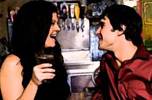 man flirting woman